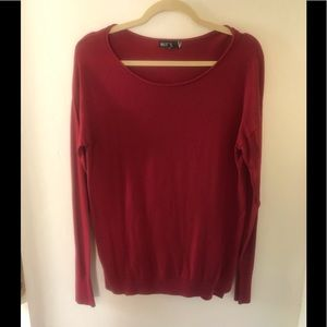 Red Scoop Neck Long Sleeve Sweater